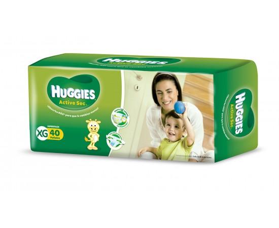 Huggies Active Sec [XG] Extra Grande (1 pack de 40 pañales)