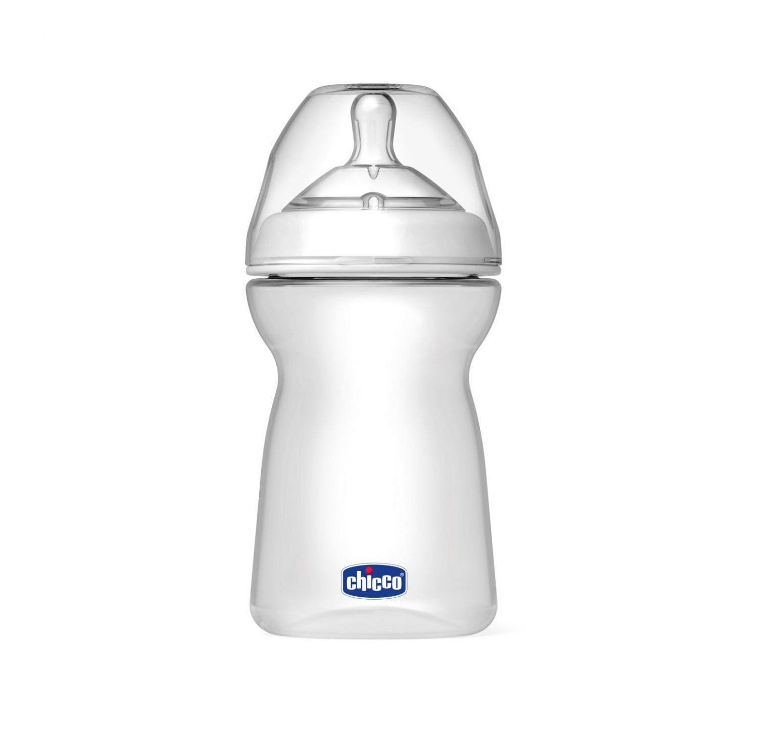 Chicco Biberón 6m+ Natural Feeling flujo rápido/papilla (330 ml.) + tetina de silicona