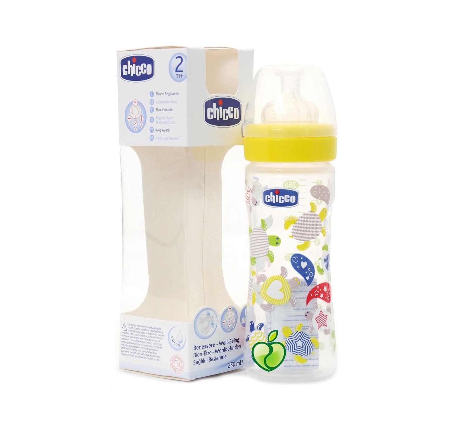 Chicco Biberón flujo regulable con tetina de silicona (250 ml.)