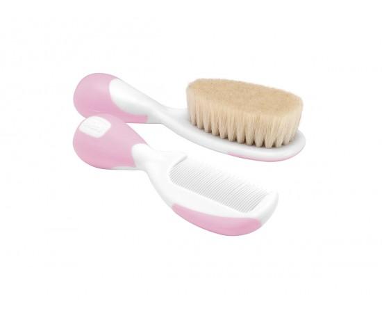 Chicco Cepillo y peine con cerdas naturales (rosa)