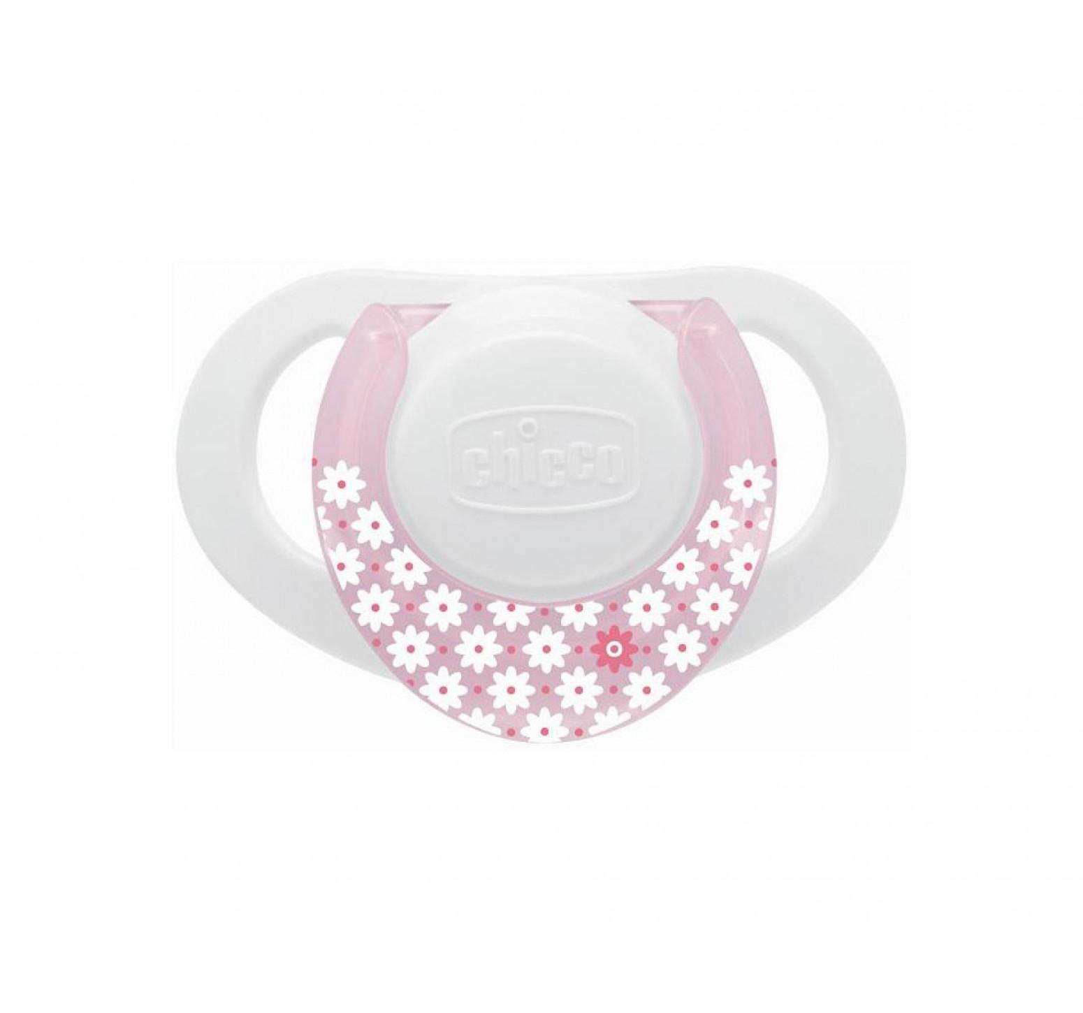 Chicco Chupete Physio Ring 0m+ (blanco con rosa y lila)