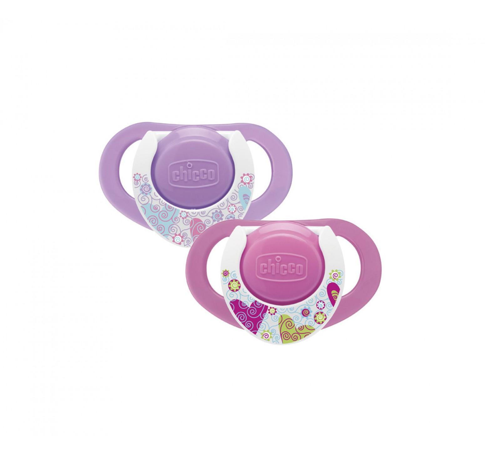 Chicco Chupete Physio Ring 12m+ (lila y fucsia con blanco)