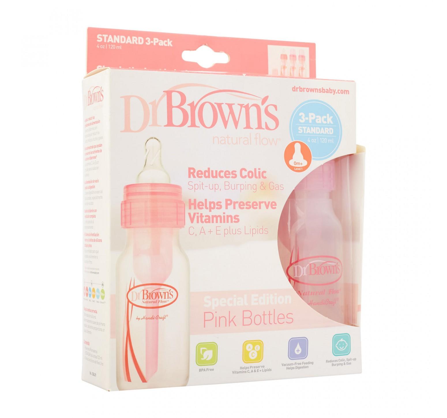 Dr.Brown's Set de 3 biberones rosados standard de 120 ml.