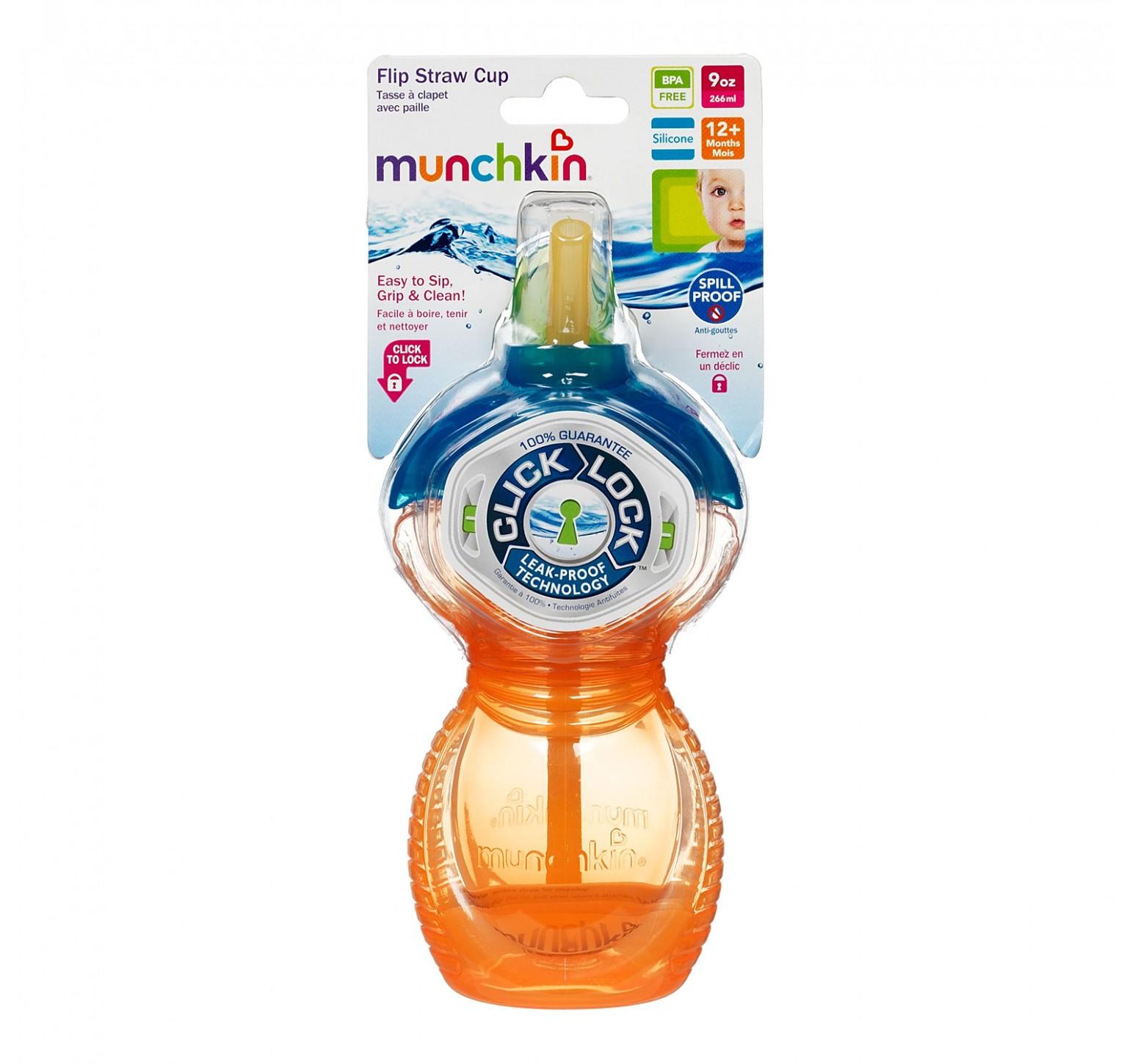 Munchkin Vaso de entrenamiento pico flexible azul y naranja