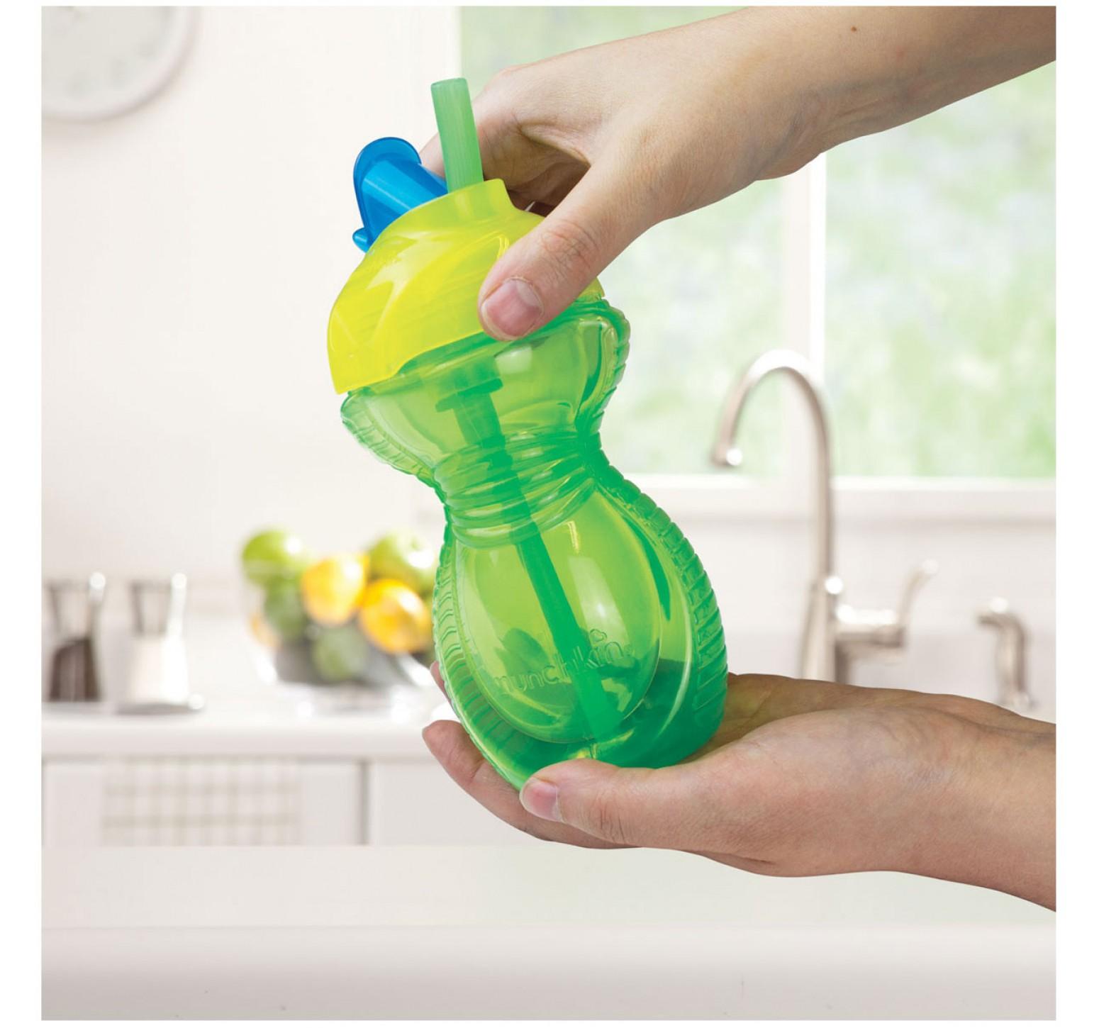 Munchkin Vaso de entrenamiento pico flexible verde y amarillo